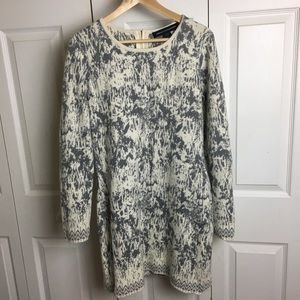 French Connection Angora Gray/White Sweater Dress